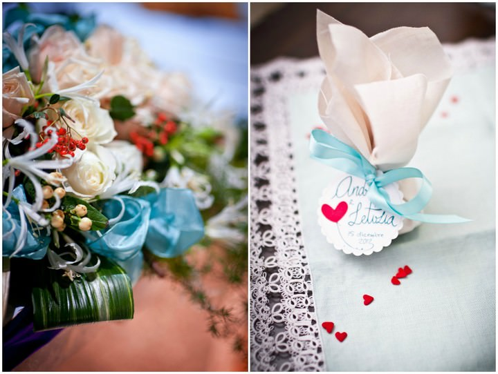 white turquoise and red wedding details