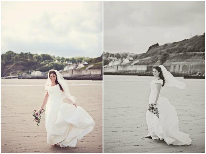 wedding portrait shots on a Pembrokeshire beach
