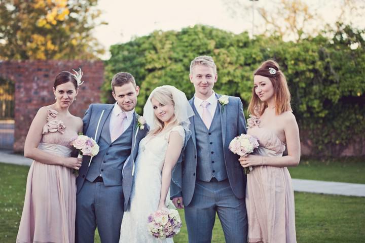pink wedding group shot