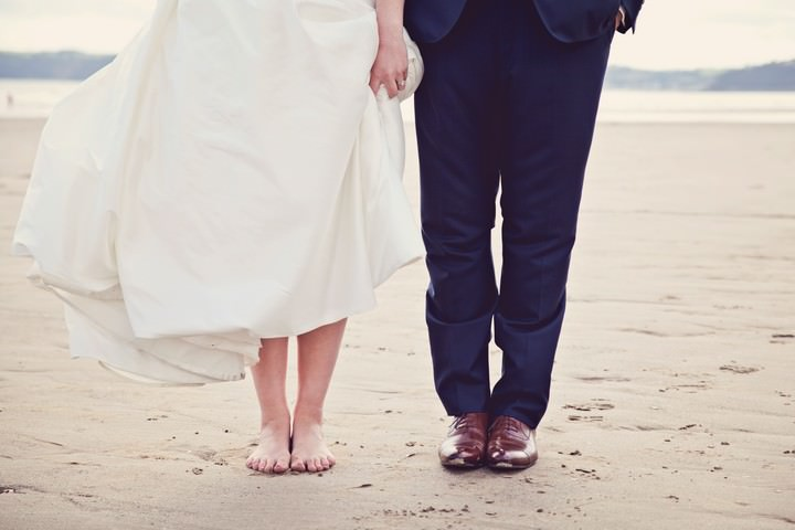 wedding portrait shots on a Pembrokeshire beach