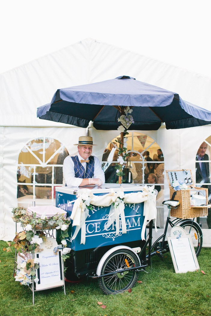 vintage ice cream tricycle at a wedding
