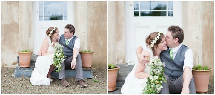 boho couple at a wedding in Devon