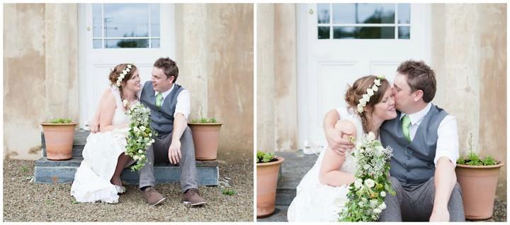 boho couple at a wedding in Devon