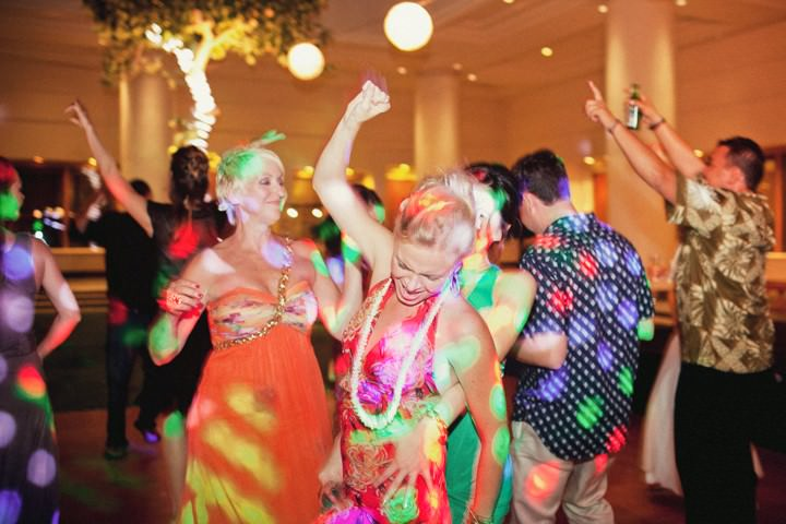 dancing at a Hawaii wedding reception