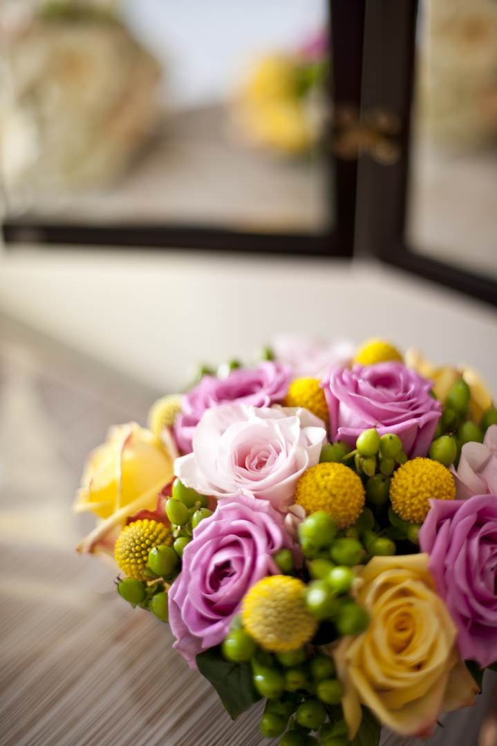 yellow and pink wedding boquet