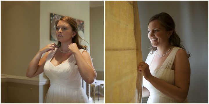 bride getting ready for her wedding in Surrey