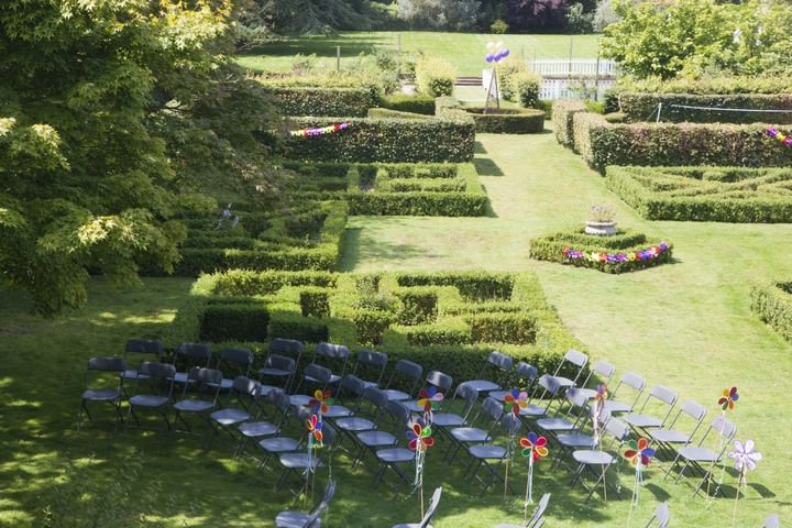 outdoor ceremony area at Pendell House, Surrey ready for a Humanist wedding