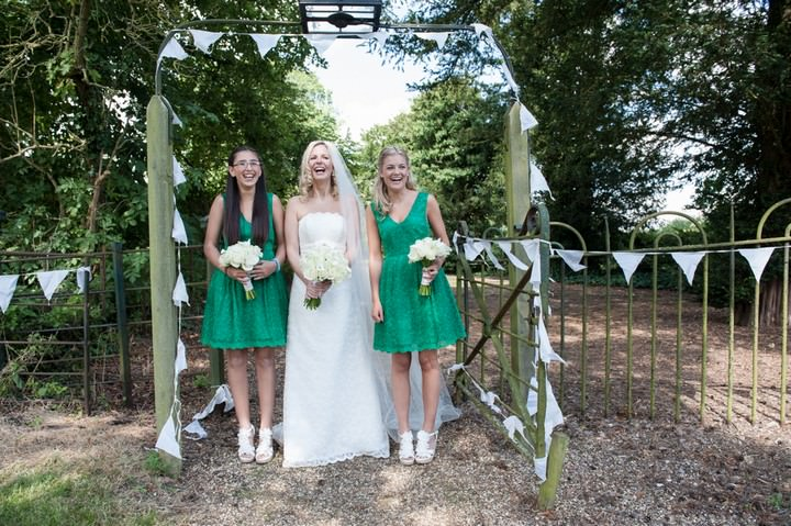 green bridesmaaids