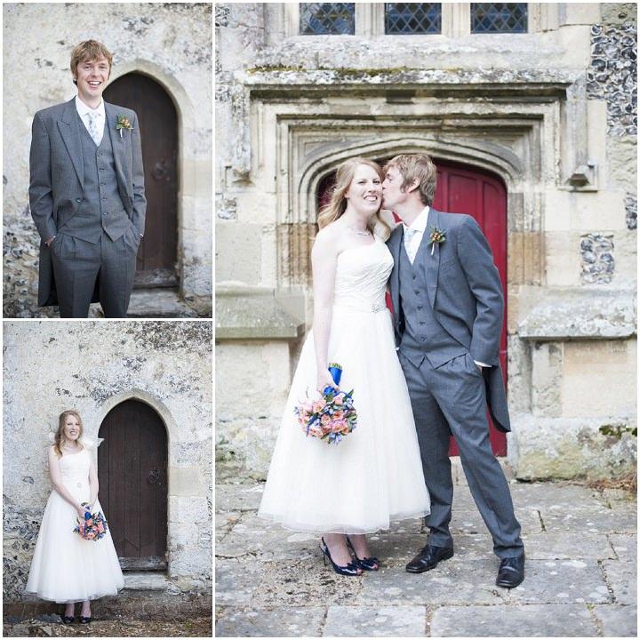 wedding couple at St Peters Church Soberton, Hampshire.