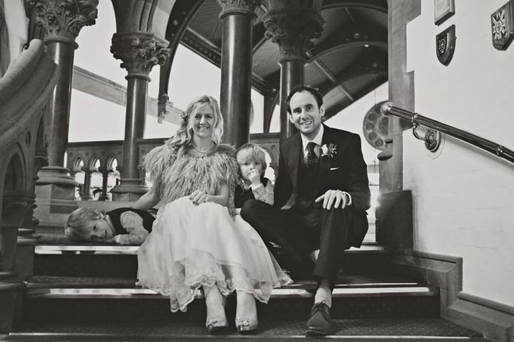 chester wedding couple with family