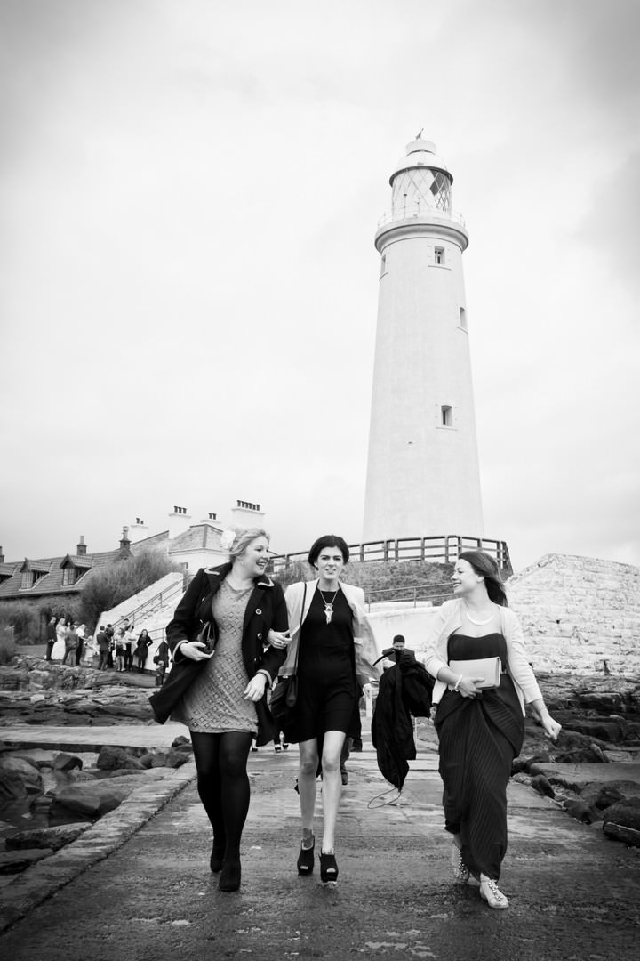 guests leaving wedding at a lighthouse