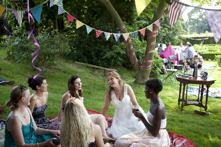outdoor wedding reception in Surrey
