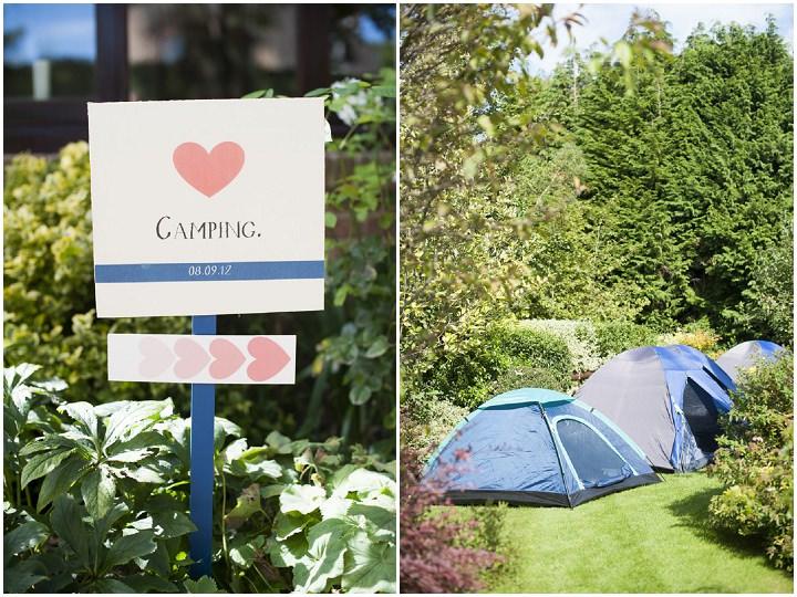 camping at a Hampshire wedding