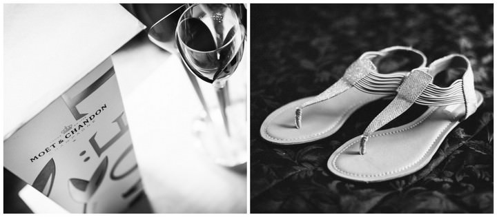 champagne and flat wedding sandles