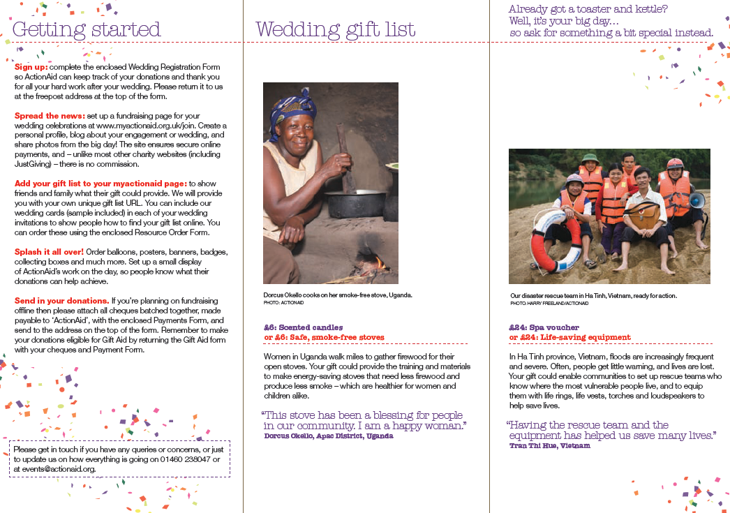 The Wedding Gift List: Action Aids Gift List Service