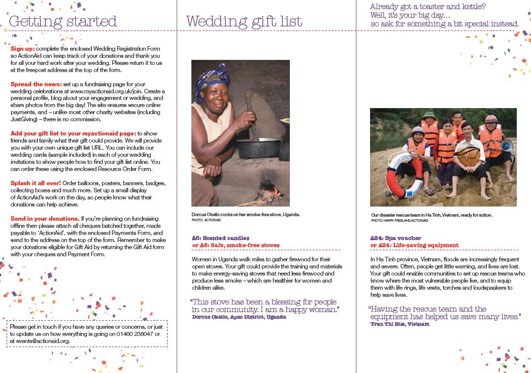 Wedding Gift List Online: Action Aids Gift List Service