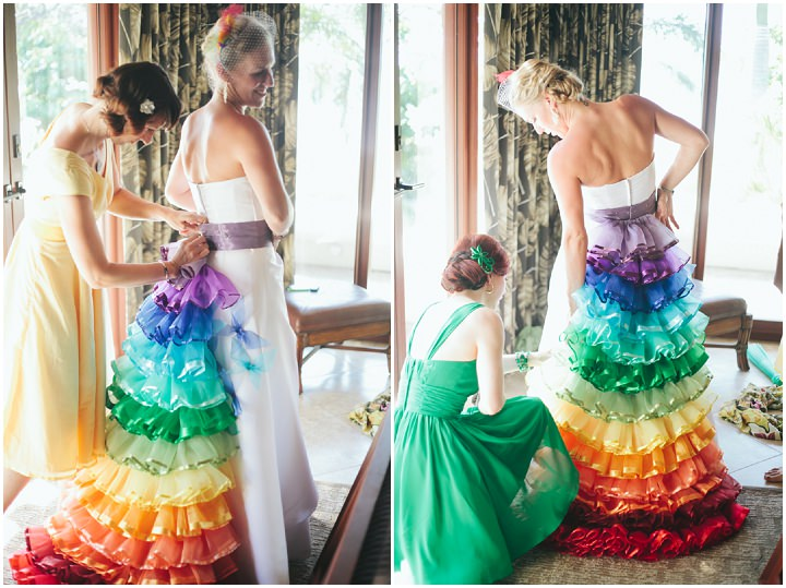 Jessica and mark 39 s rainbow themed beach wedding by for Beach themed wedding dress