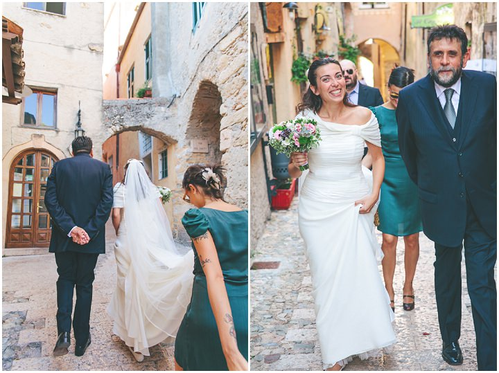 bride walking to her wedding ceremony in Italy