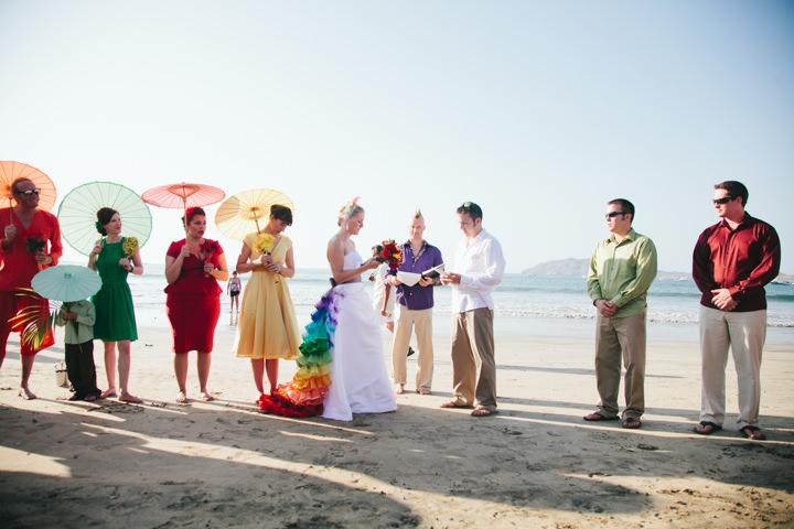 Rainbow Themed Beach Wedding
