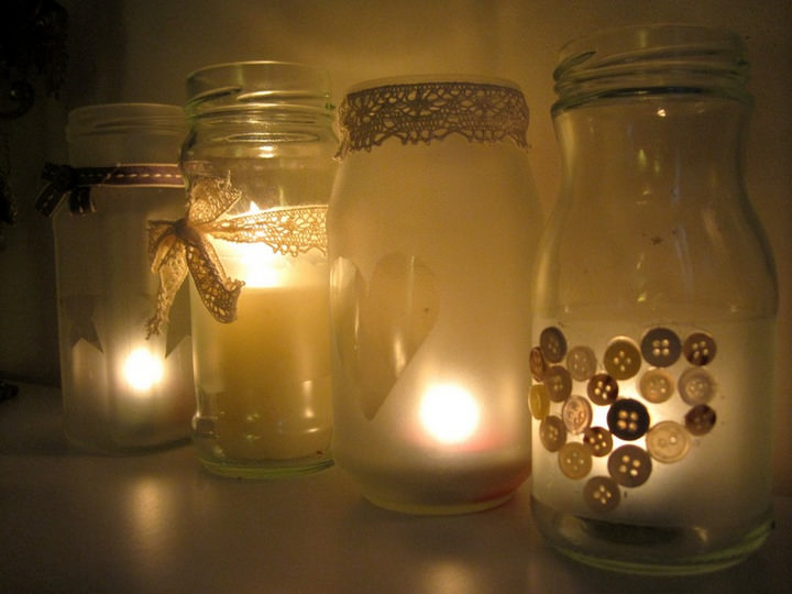 Frosted Jar Tealight Holders