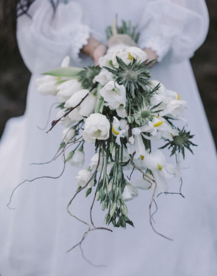 wildflower bouquet with white thistles campbellsflowers