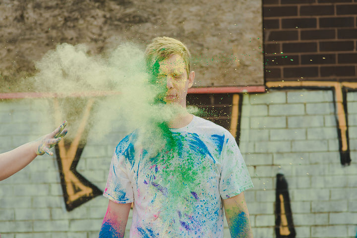 Becci and Jonny's engagement shoot in York and Holi paint engagement shoot.