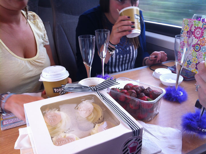 Drinks & nibbles on the train to London
