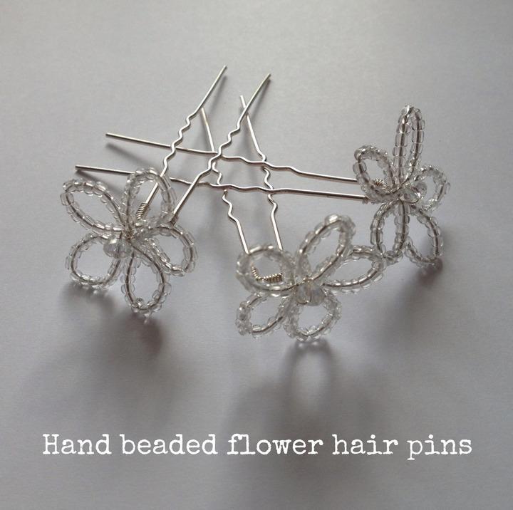 Hand-beaded Flower Hair Pins