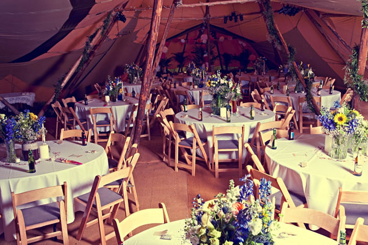 70s Wedding with flower crowns and Tipis Boho Weddings