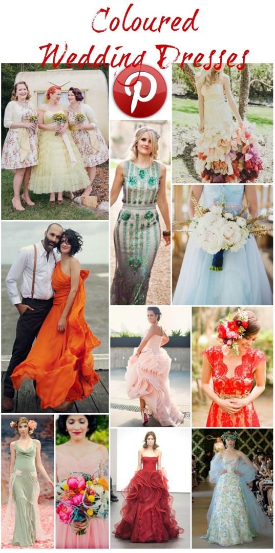 Boho Pins: Coloured Wedding Dresses