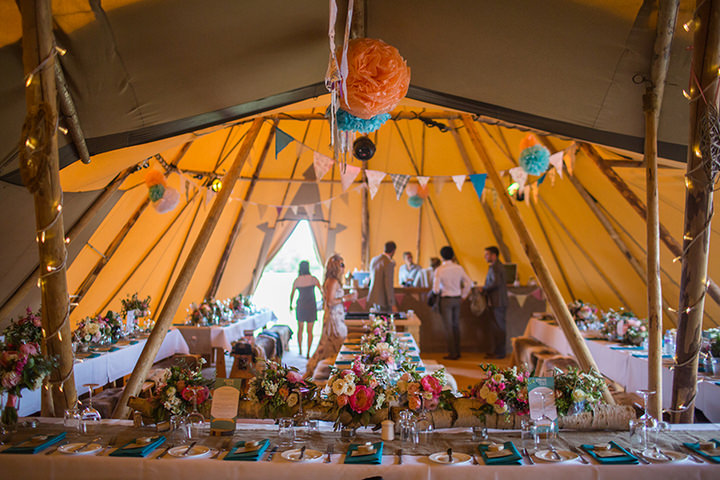 41 Peach and Aqua Tipi Wedding By Binky Nixon