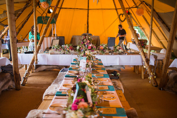 44 Peach and Aqua Tipi Wedding By Binky Nixon