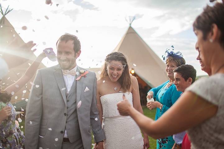 64 Peach and Aqua Tipi Wedding By Binky Nixon