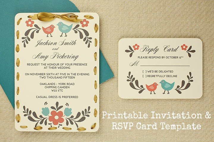 Diy tutorial free printable invitation and rsvp card for Rsvp cards for weddings templates