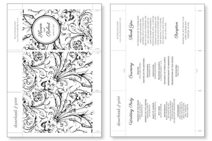 DIY Tutorial FREE Printable Folded Wedding Program Boho – Order of Service Template Free