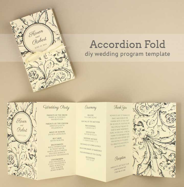 Diy tutorial free printable folded wedding program boho for Free printable wedding program templates word