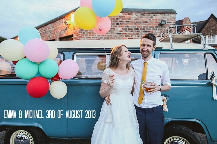 Retro vintage wedding with blue camper van, balloons and fish and chip van