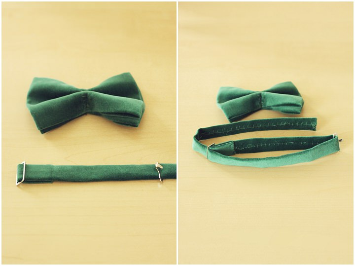 STEP 8) The third part of the bow tie clip is threaded onto the remaining end and sewn in place.