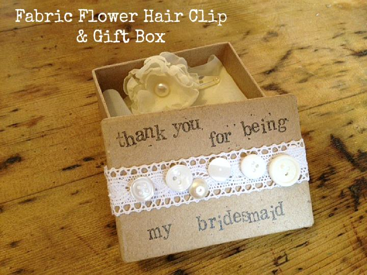 Fabric Flower Hair Clip and Gift Box