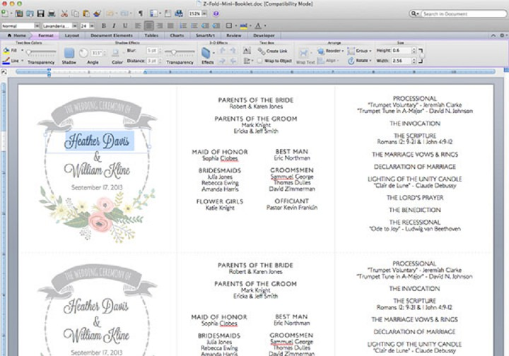 Garden Wreath Ceremony Booklet Edit In Word ...  Booklet Template Word