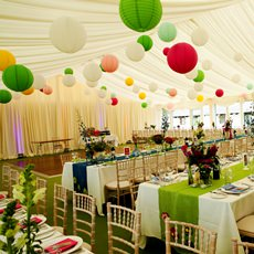 Bright coloured round hanging lanterns