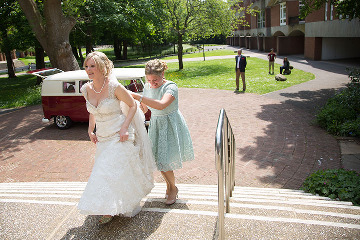 Wedding ceremony at the Meeting House, Sussex University and wedding reception at Fitzleroi Barn, West Sussex, for Adam and Pip