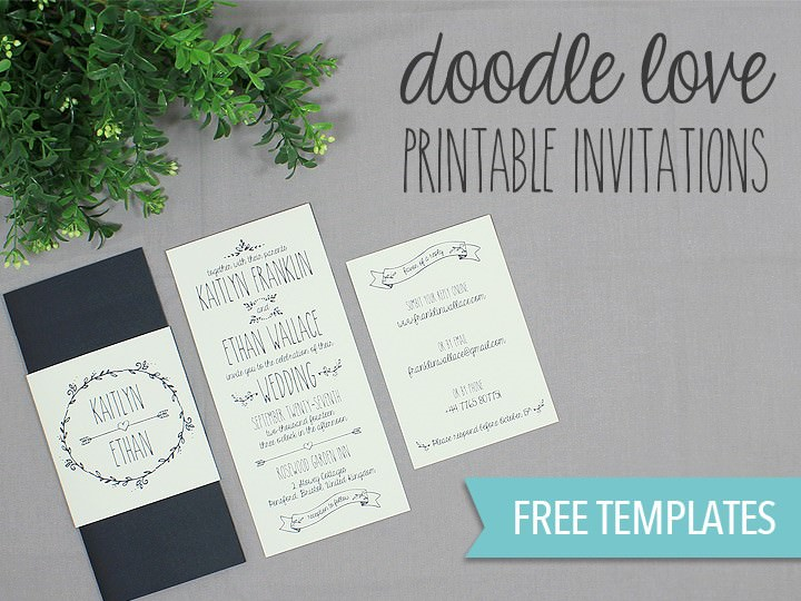 DIY Tutorial FREE Printable Doodle Wedding Invitation Set Boho - Wedding invitation templates: wedding card invitation templates free download