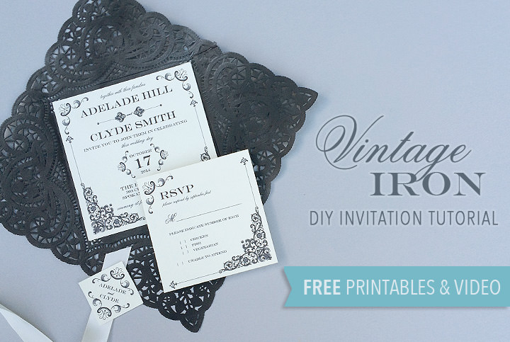 free printable vintage iron wedding invitation and pocket boho