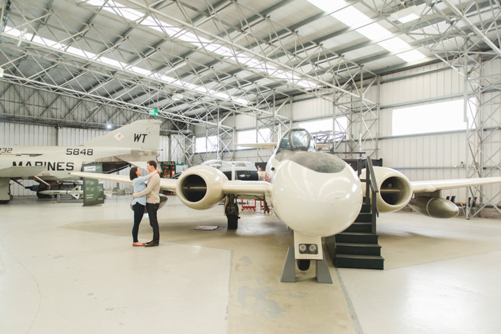 Engagement Shoot in a airplane hanger