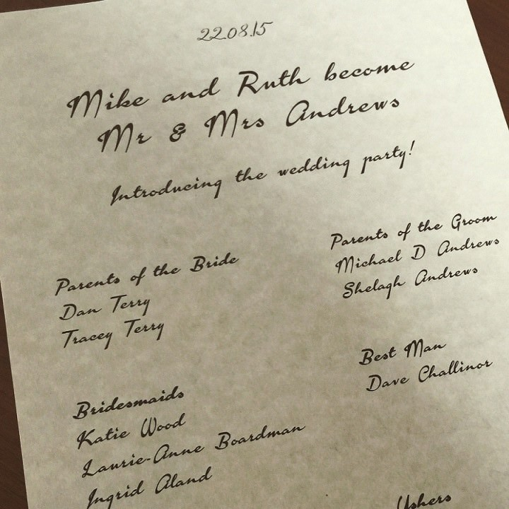 Wedding Info on parchment paper