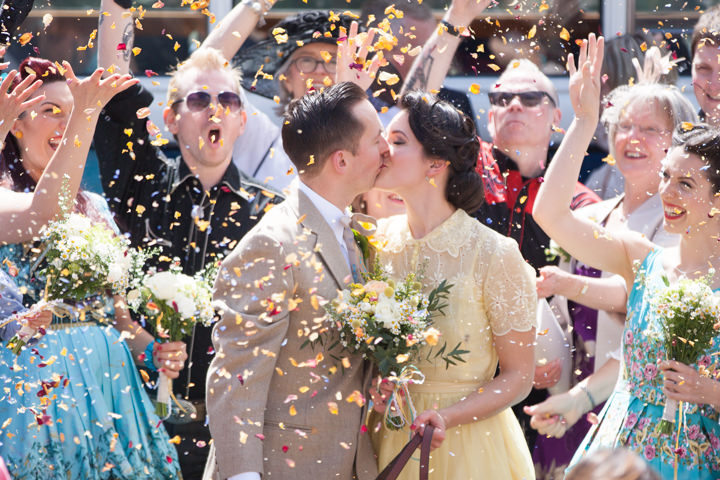 1950s Rockabilly Wedding With A Yellow Wedding Dress By Kirsten