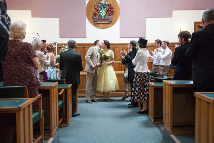 19 1950s Rockabilly Wedding With a Yellow Wedding Dress
