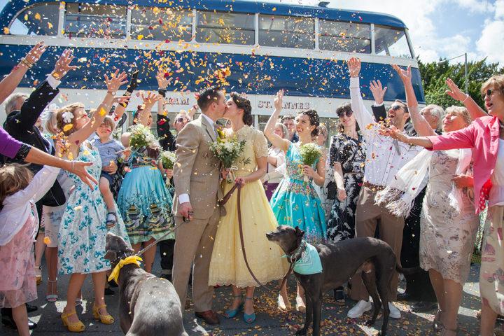 20 1950s Rockabilly Wedding With a Yellow Wedding Dress