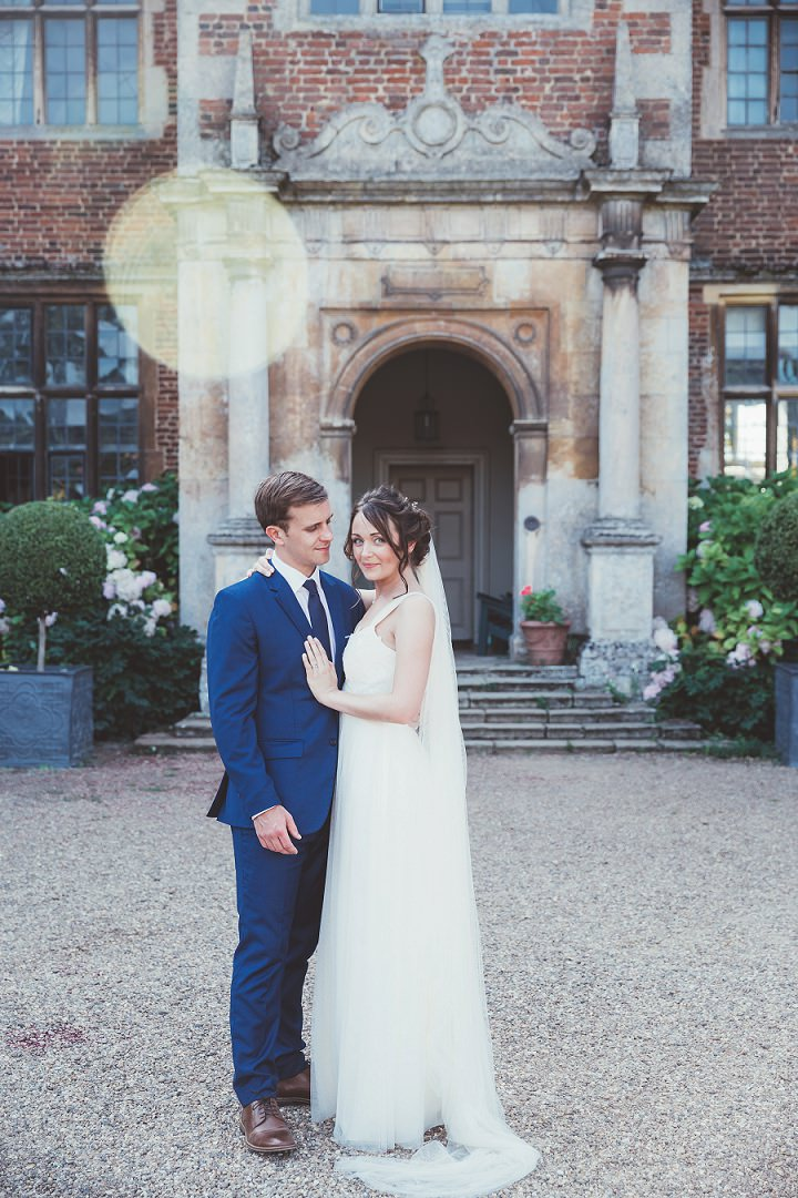 Doddington Hall Lincolnshire Wedding bride and groom outside in the grounds By Phillipa James Photography
